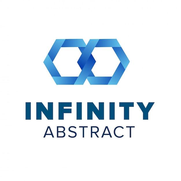 Logo mit zwei sechseckigen kettengliedern. schönes unendlichkeitslogo-schablonendesign. blaues abstraktes symbol Premium Vektoren