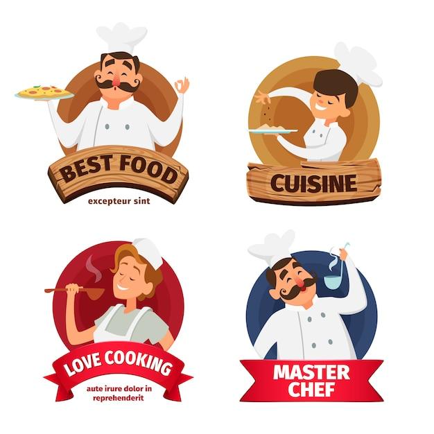 Logo oder etiketten für restaurant festgelegt. Premium Vektoren