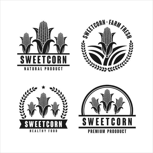 Logo-sammlung des zuckermais-naturproduktdesigns Premium Vektoren