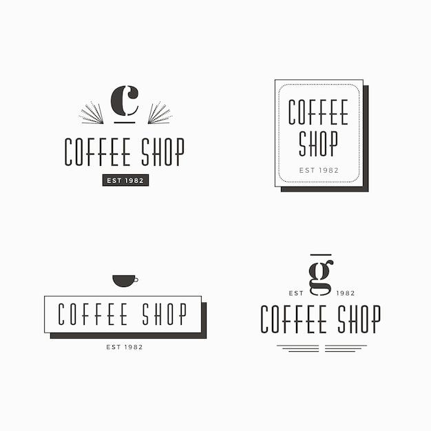 Logo-schablonensammlung der kaffeestube retro- Kostenlosen Vektoren