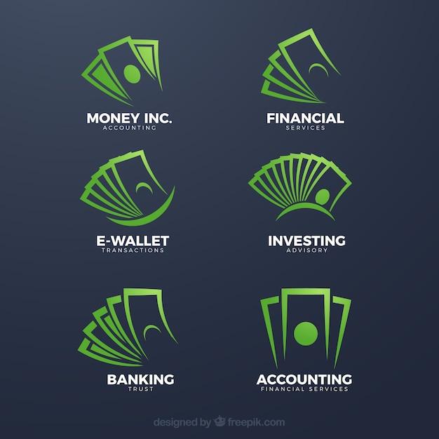 Logo-schablonensammlung des grünen geldes Kostenlosen Vektoren