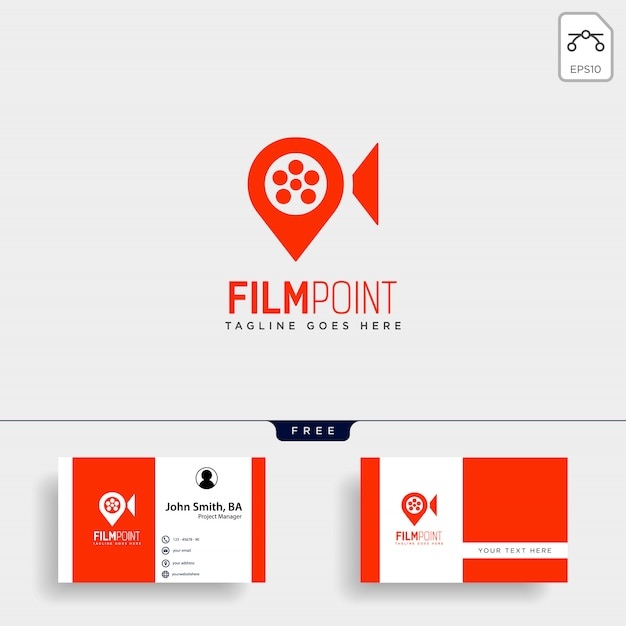 Logo-schablonenvektorillustrations-ikonenelement des filmpunktnavigators oder des stiftkartenkinos einfaches Premium Vektoren
