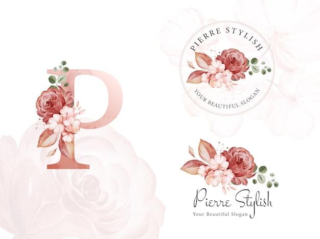 Logo-set aus braunem aquarell mit blumenmuster für das erste p. Premium Vektoren