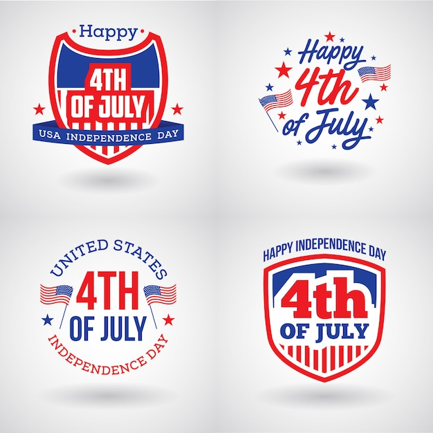 Logo-set für den vierten juli in den usa Premium Vektoren