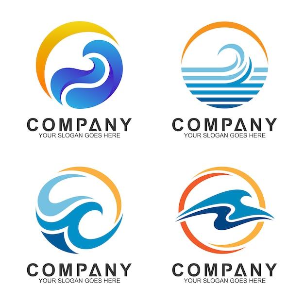 Logo-set von welle und sonne in kreisform Premium Vektoren