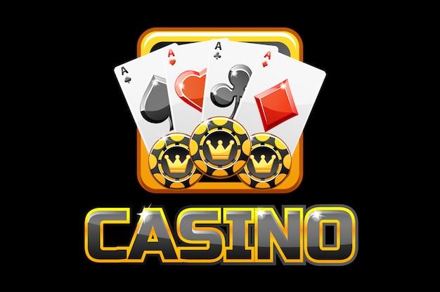 Logo text casino und symbol auf schwarzem hintergrund, für ui-spiel Premium Vektoren