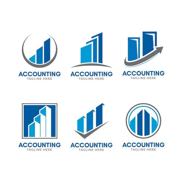 Logo-vorlage der geschäftsbuchhaltung des flachen designs Kostenlosen Vektoren