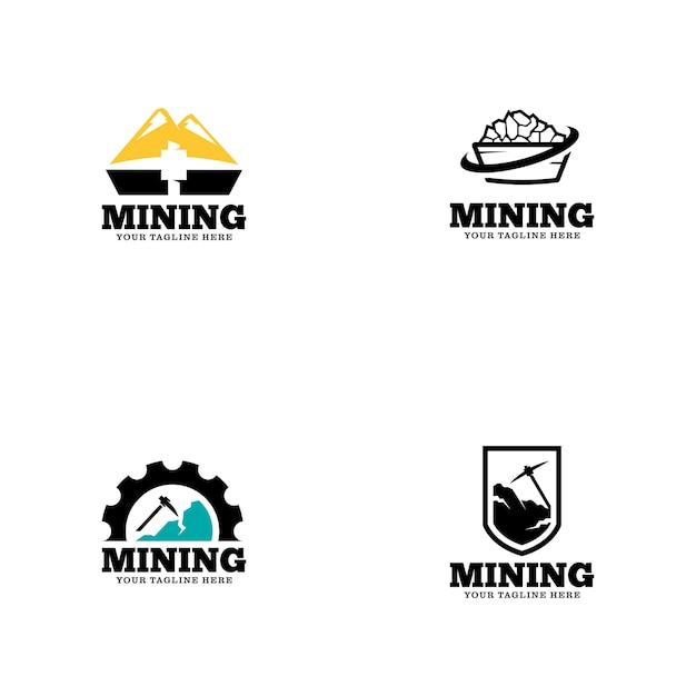 Logo-vorlage für den bergbau Premium Vektoren