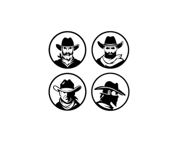 Logo vorlage mit dem bild des mannes in hut. Premium Vektoren