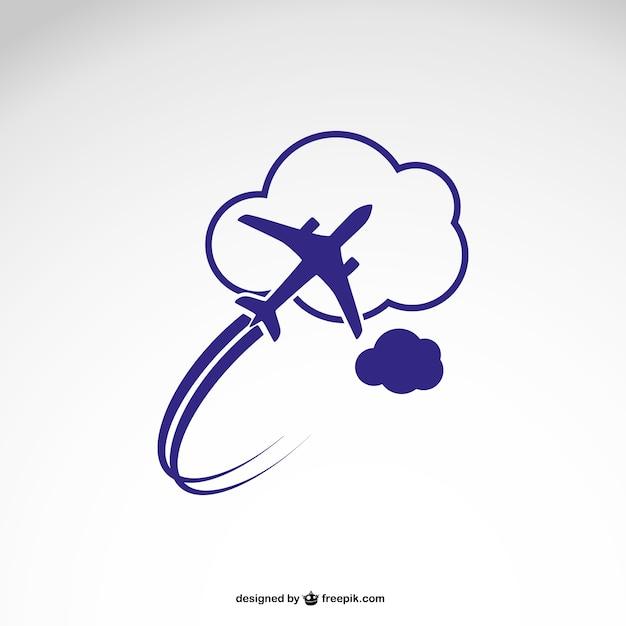 Logo-vorlage mit flugzeug Kostenlosen Vektoren