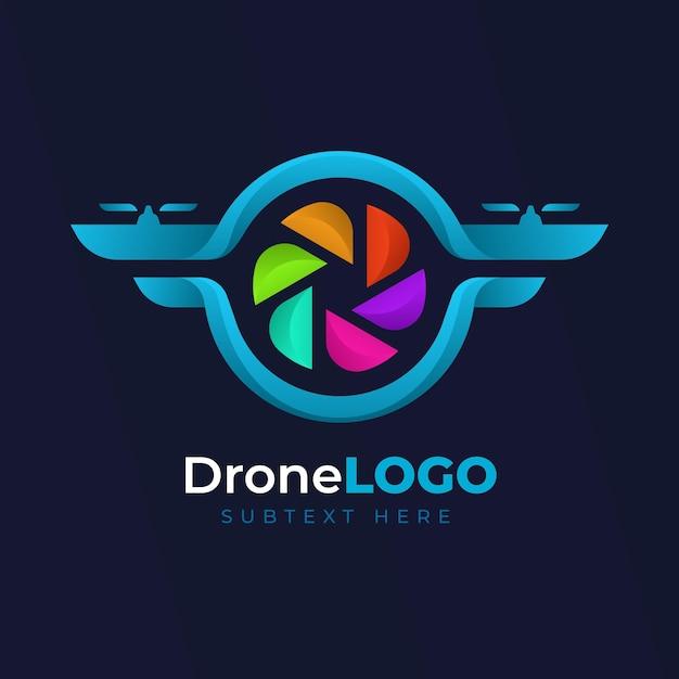 Logo web vorlage farbige drohne design Kostenlosen Vektoren