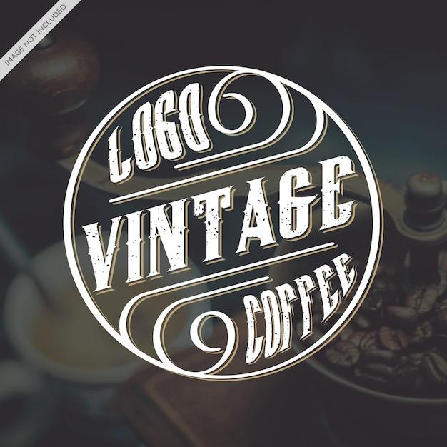 Logo-weinlese-caffee Premium Vektoren