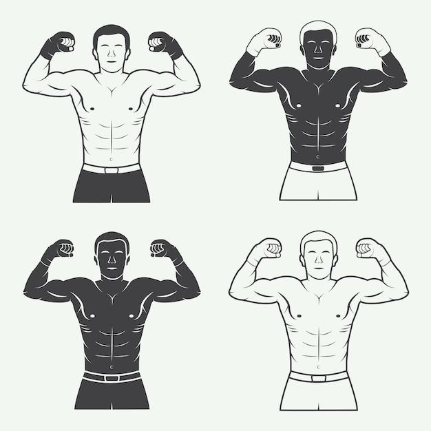Logos für boxen und kampfsport Premium Vektoren