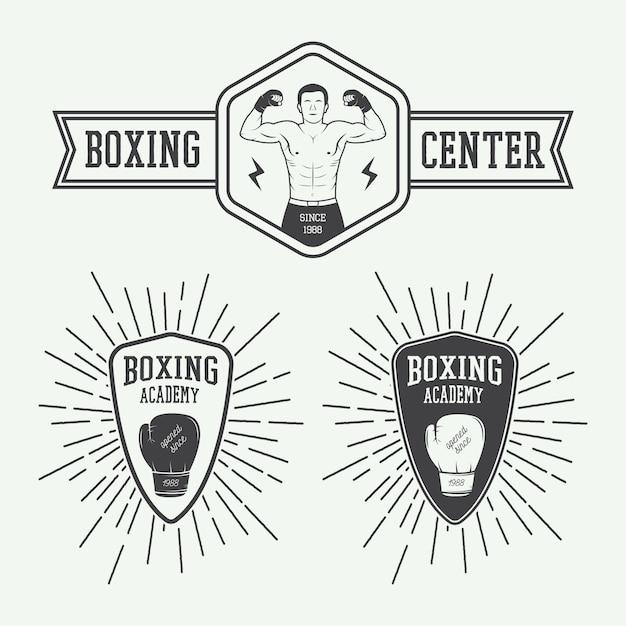 Logos für boxsport und kampfsport Premium Vektoren
