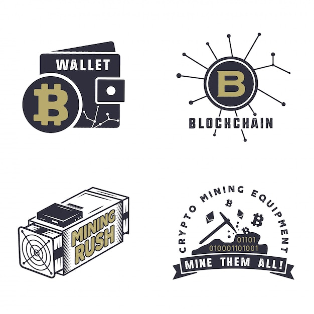 Logos für digitale assets Premium Vektoren