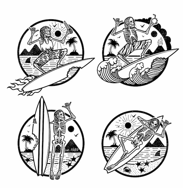 Logos illustration mit skeleton surfers. Premium Vektoren