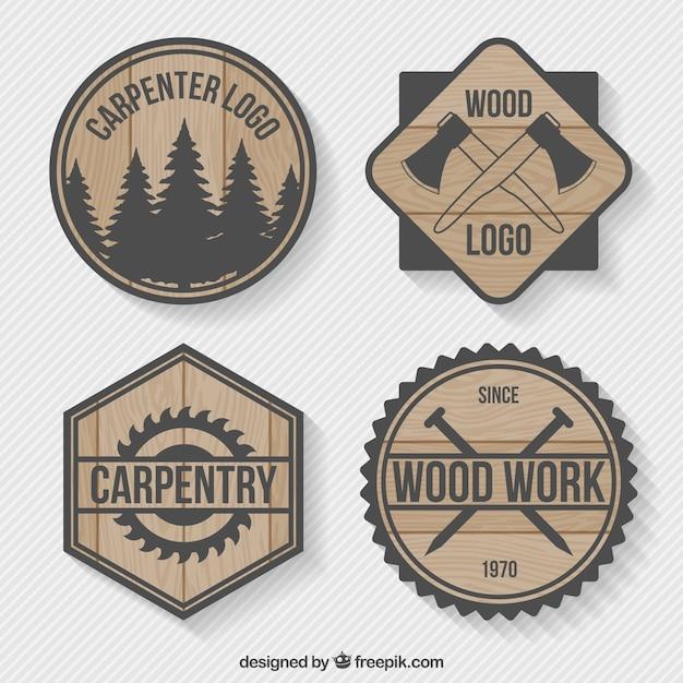 Logos packung von holz tischlerei Kostenlosen Vektoren