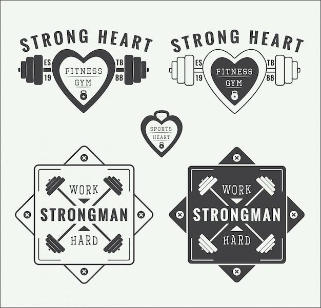 Logos und embleme für fitnessstudios Premium Vektoren