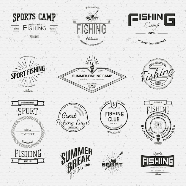 Logos und etiketten für angler für jegliche verwendung Premium Vektoren