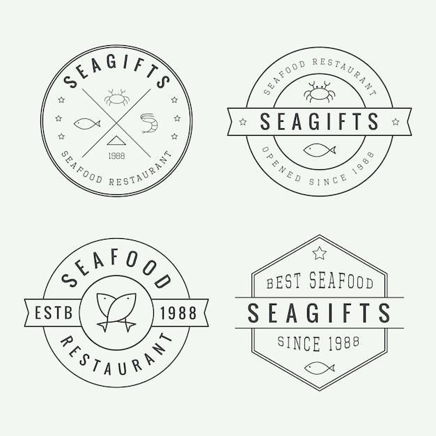 Logos von fischrestaurants Premium Vektoren