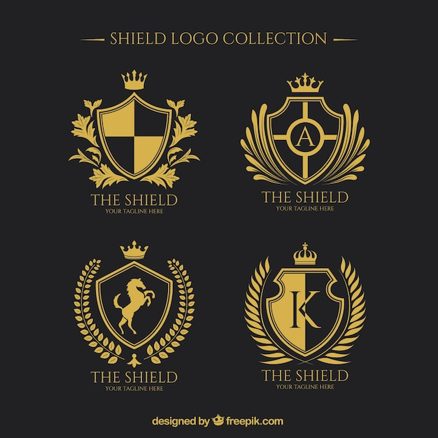 Logos von goldener schilde sammlung Kostenlosen Vektoren