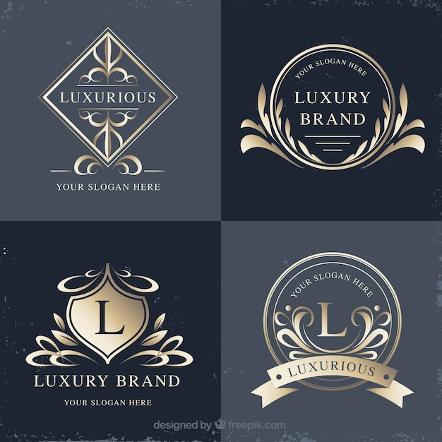 Logosammlung mit vintage- und luxus-stil Kostenlosen Vektoren