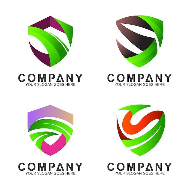 Logosatz von schild + buchstabe s Premium Vektoren