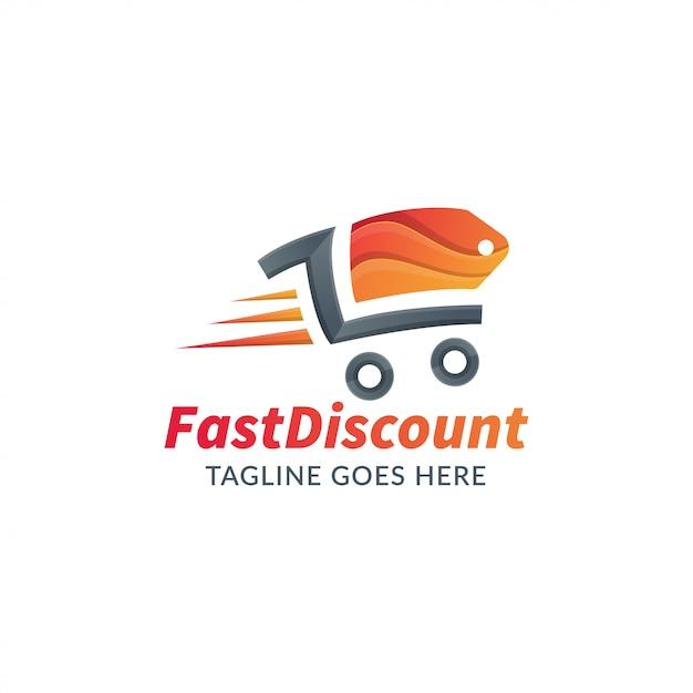 Logoschablone für onlineshop oder speicher, schnelle einkaufsillustration Premium Vektoren