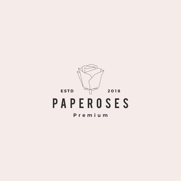 Logovektor-illustrationslinie kontur monoline der geometrischen papierblume rosafarbene Premium Vektoren