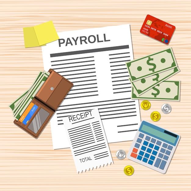 Lohn- und gehaltsabrechnungsbogen, Premium Vektoren