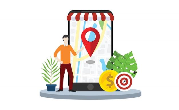 Lokale seo-marktstrategie Premium Vektoren