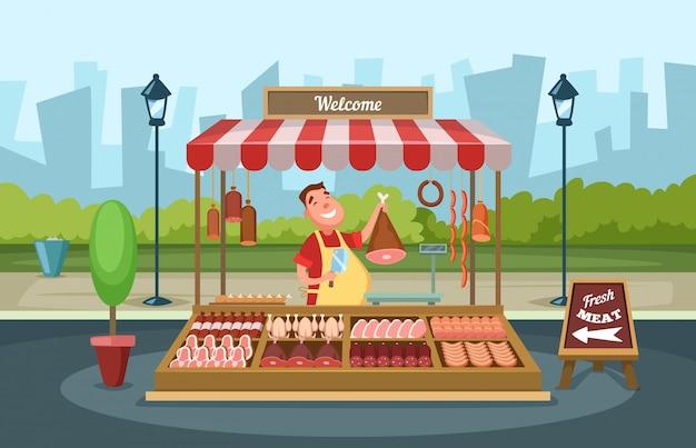 Lokaler marktplatz mit frischen lebensmitteln. vektorillustrationen in der karikaturart Premium Vektoren