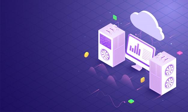 Lokaler server, der mit dem cloud-server verbunden ist. Premium Vektoren