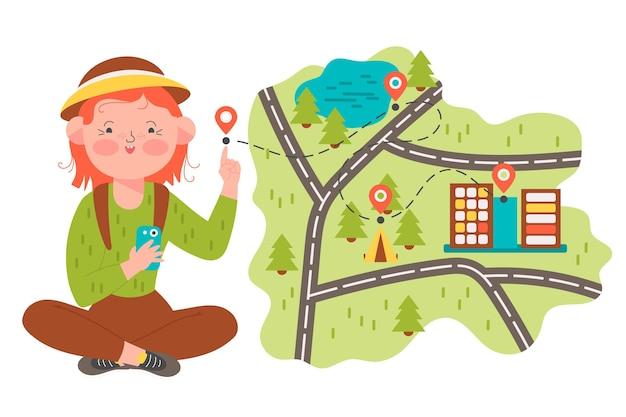 Lokales tourismuskonzept dargestellt Kostenlosen Vektoren