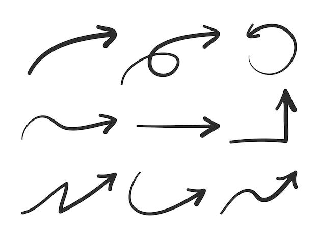 Lokalisierte gezeichnete pfeile des vektors hand eingestellt Premium Vektoren