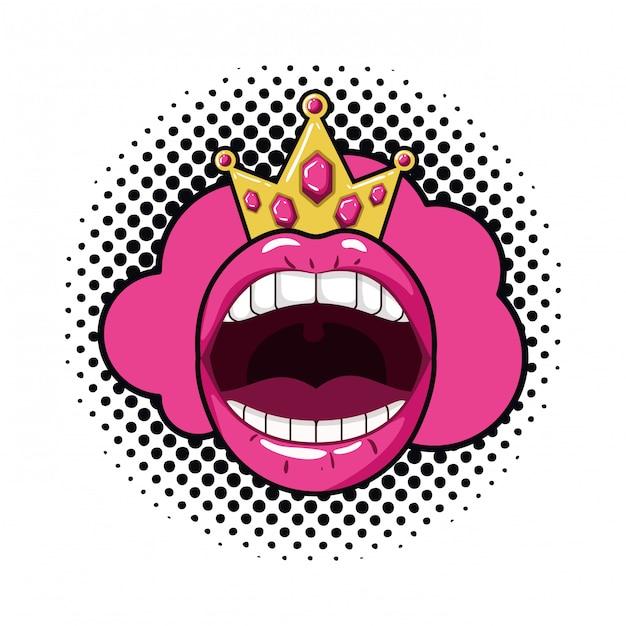 Lokalisierte ikone der weiblichen mund-pop-art Premium Vektoren