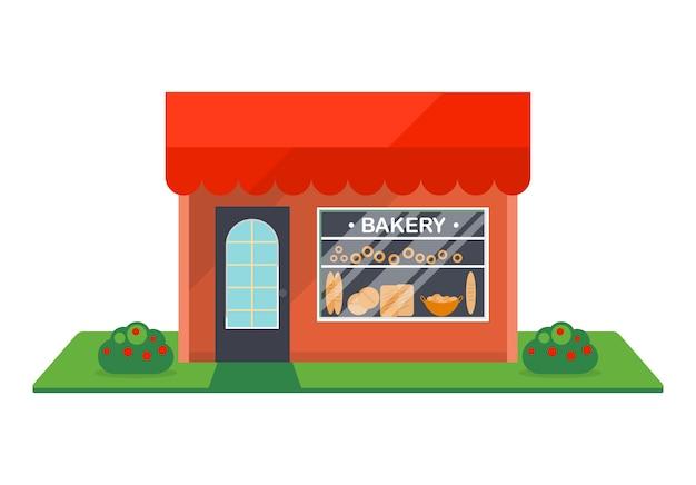 Lokalisierte ikone des bäckereishop fassade Premium Vektoren