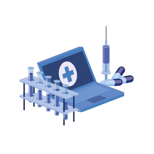 Lokalisierte ikone des laptops und der laborinstrumente Premium Vektoren