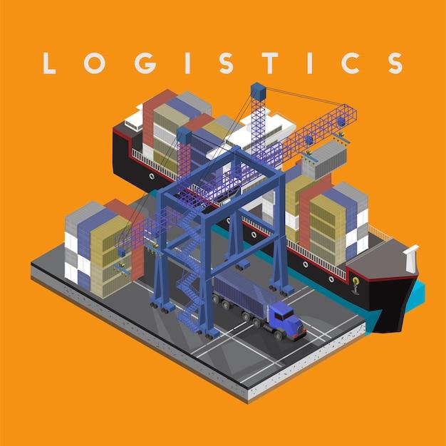 Lokalisierte ikone des logistikgeschäfts industriell auf hintergrund Kostenlosen Vektoren