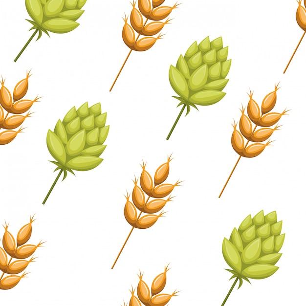 Lokalisierte ikone des musters weizen und pinecone Premium Vektoren