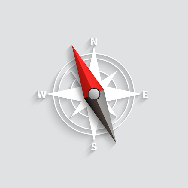 Lokalisierte illustration des vektors 3d des kompasspfeiles. navigations- und richtungssymbol Premium Vektoren