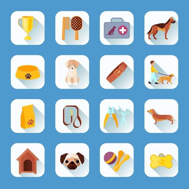 Lokalisierte isolierte illustration des ikonensammlungslichtschatten-zusammenfassungsvektors des touch screen knöpft apps haustiere und des flachen icons der sammlung flachen Premium Vektoren