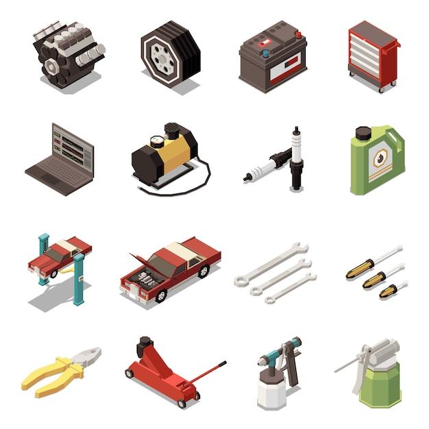 Lokalisierte isometrische ikone des autoservices stellte mit steckerwerkzeugausrüstung und ausrüstungsillustration ein Kostenlosen Vektoren