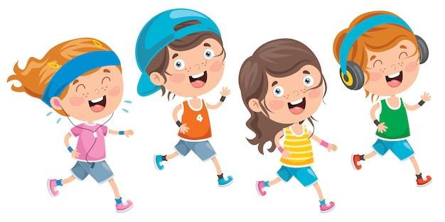 Lokalisierte kleine kinder, die draußen laufen Premium Vektoren