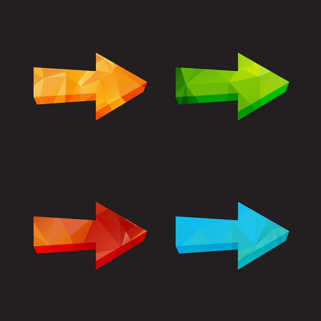Lokalisierte polygonale pfeile des dreiecks eingestellt Premium Vektoren