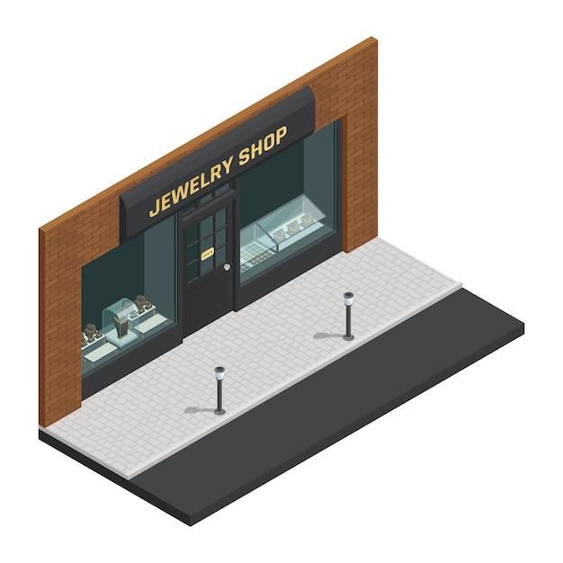 Lokalisierte stilvolle farbige isometrische zusammensetzung des juweliergeschäfts mit schaufenster- und shopzeichenvektorillustration Kostenlosen Vektoren