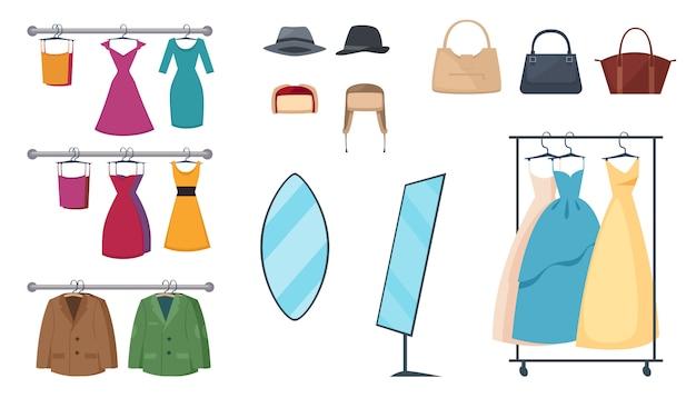 Lokalisierte und farbige bekleidungsgeschäftikone stellte mit elementen und attributkleidung auf aufhängern und zubehör ein Kostenlosen Vektoren
