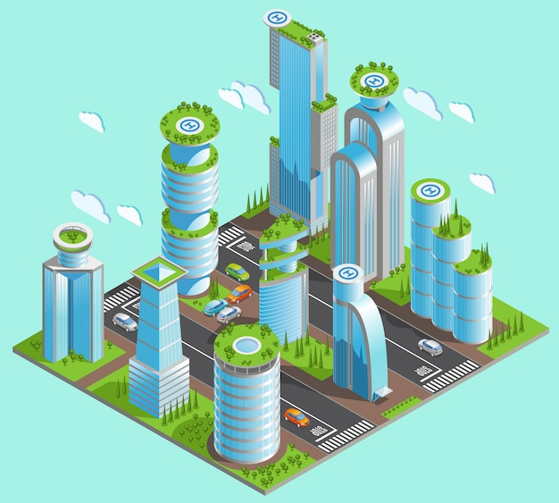 Lokalisierte und isometrische futuristische wolkenkratzerzusammensetzung mit vielen bürogebäuden in der innenstadt Kostenlosen Vektoren