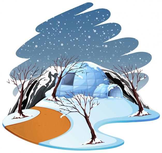 Lokalisierte winterszenenlandschaft Kostenlosen Vektoren