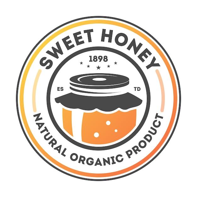 Lokalisierter aufkleber des süßen honigs weinlese Premium Vektoren